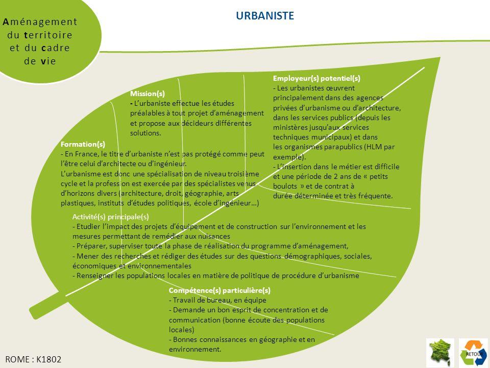 URBANISTE Aménagement du territoire et du cadre de vie Mission(s) - Lurbaniste effectue les études préalables à tout projet daménagement et propose aux décideurs différentes solutions.