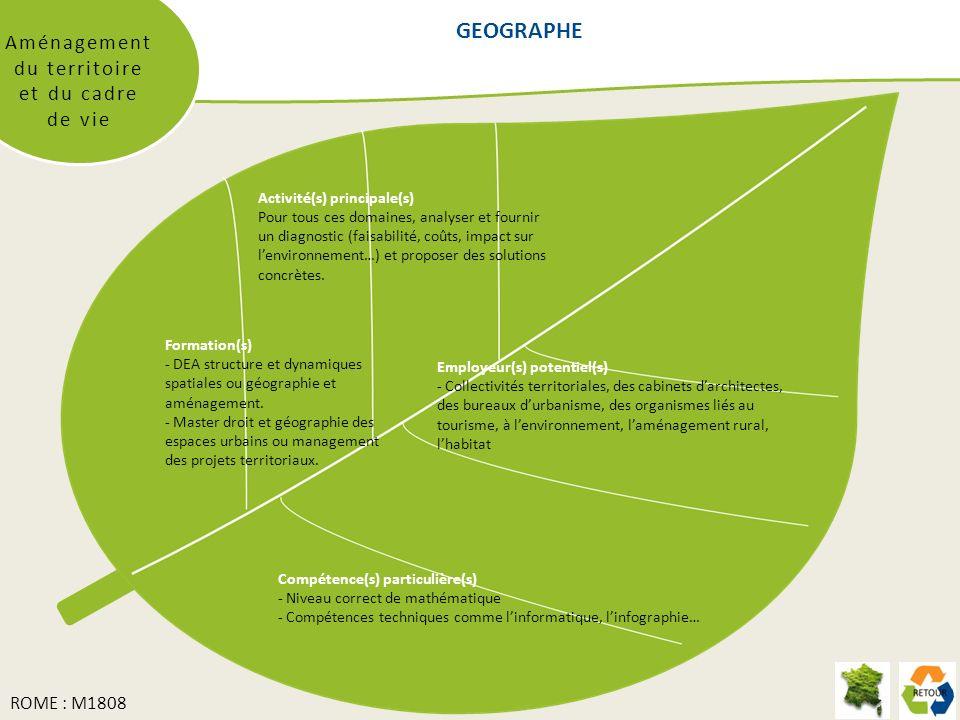 GEOGRAPHE Aménagement du territoire et du cadre de vie Formation(s) - DEA structure et dynamiques spatiales ou géographie et aménagement. - Master dro