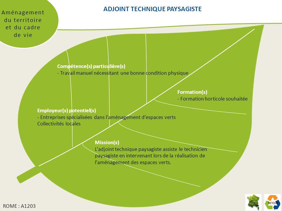 ADJOINT TECHNIQUE PAYSAGISTE Aménagement du territoire et du cadre de vie Formation(s) - Formation horticole souhaitée Compétence(s) particulière(s) -