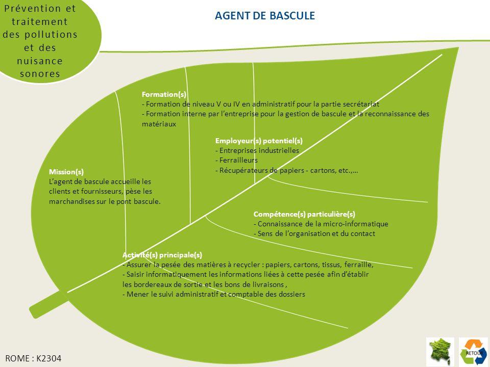 AGENT DE BASCULE Prévention et traitement des pollutions et des nuisance sonores Formation(s) - Formation de niveau V ou IV en administratif pour la p