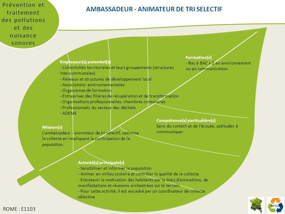 AMBASSADEUR - ANIMATEUR DE TRI SELECTIF Prévention et traitement des pollutions et des nuisance sonores Formation(s) - Bac à BAC + 2 en environnement