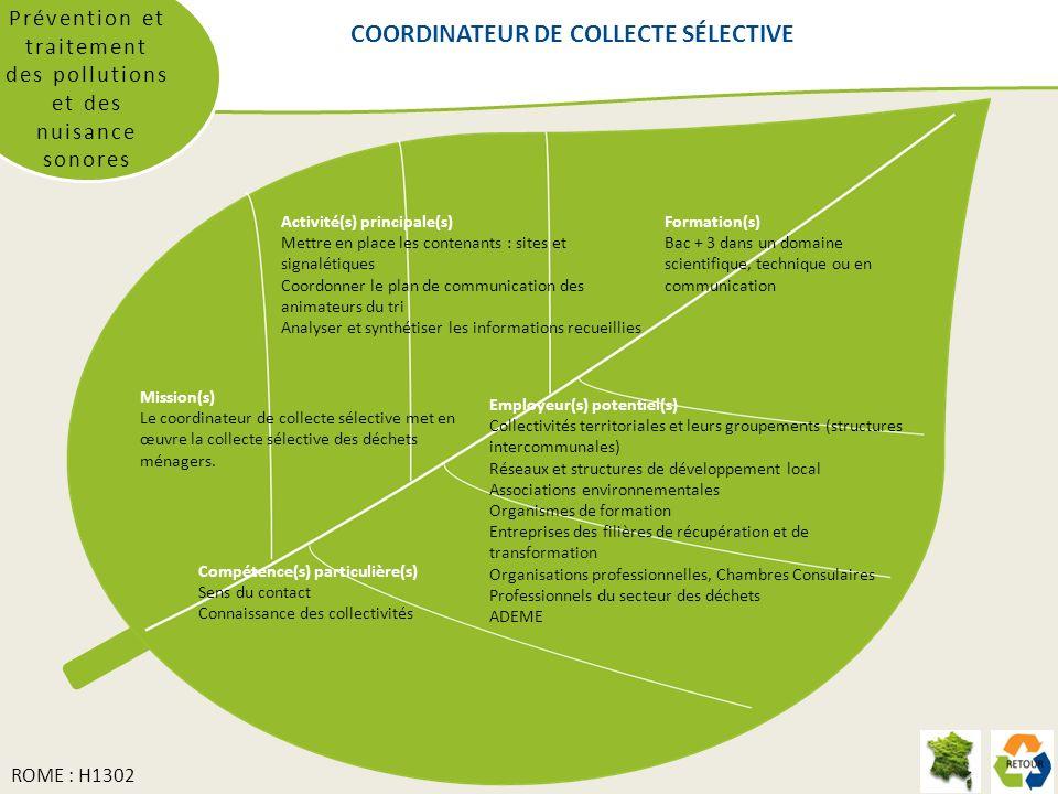 COORDINATEUR DE COLLECTE SÉLECTIVE Prévention et traitement des pollutions et des nuisance sonores Formation(s) Bac + 3 dans un domaine scientifique,