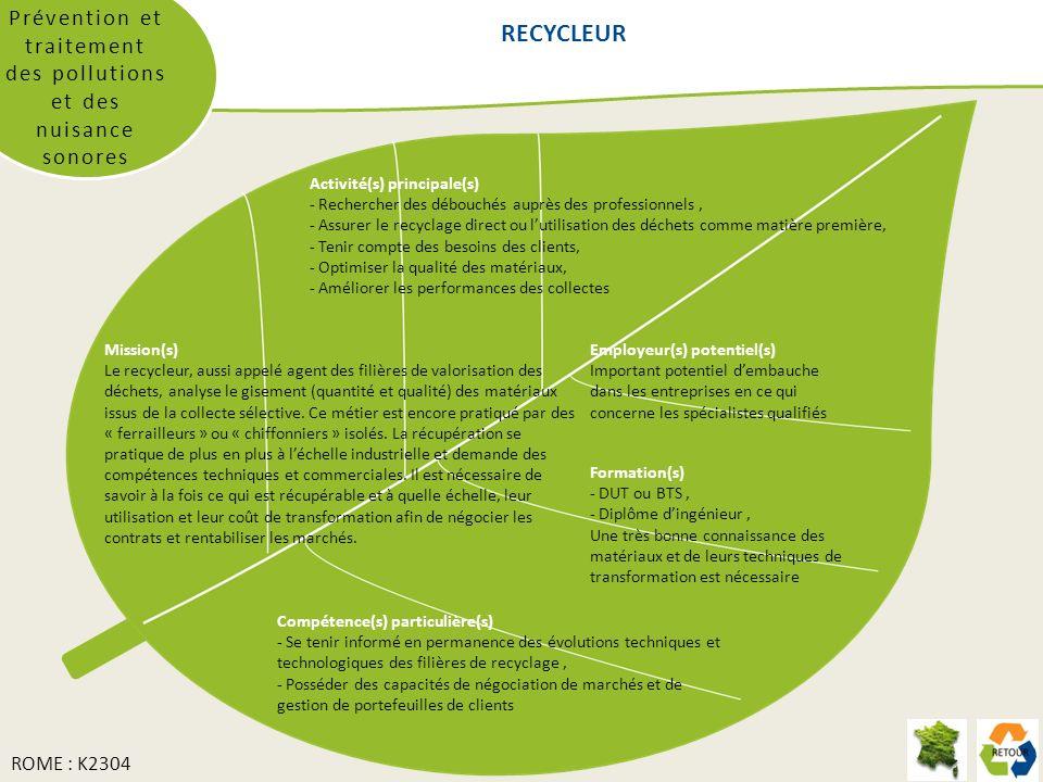 RECYCLEUR Prévention et traitement des pollutions et des nuisance sonores Mission(s) Le recycleur, aussi appelé agent des filières de valorisation des déchets, analyse le gisement (quantité et qualité) des matériaux issus de la collecte sélective.