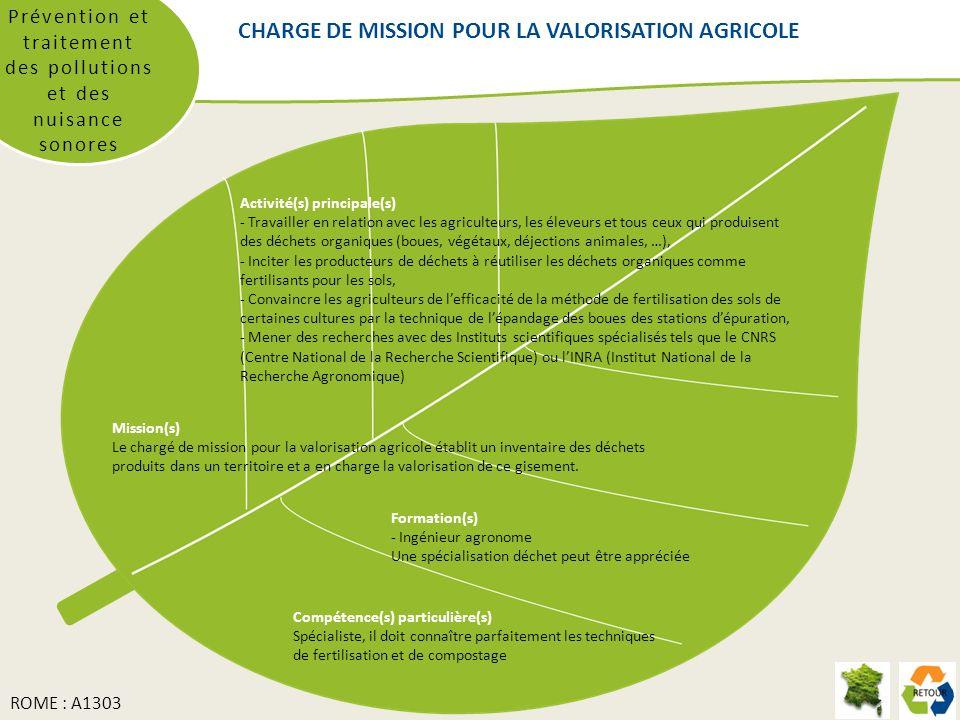 CHARGE DE MISSION POUR LA VALORISATION AGRICOLE Prévention et traitement des pollutions et des nuisance sonores Mission(s) Le chargé de mission pour l
