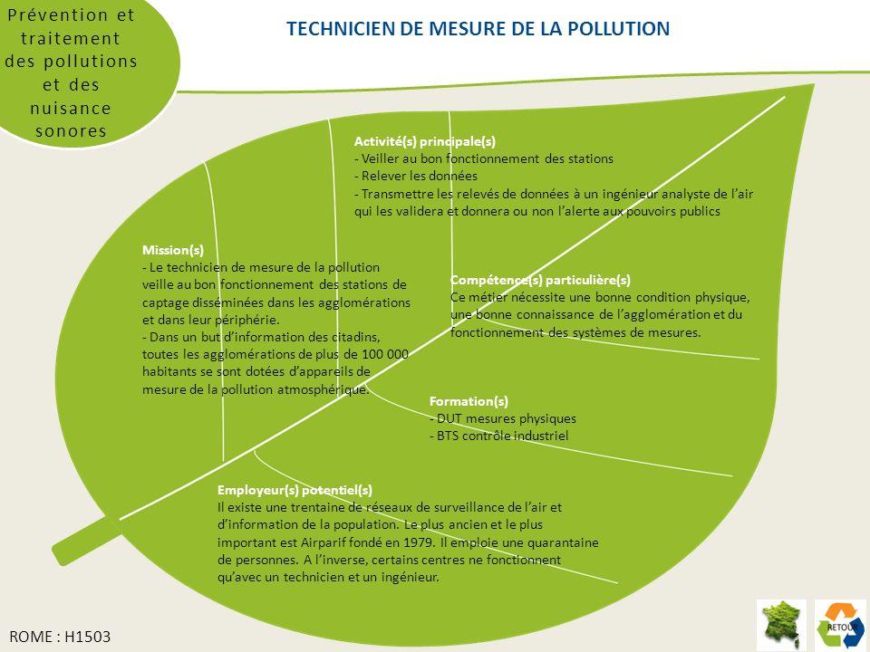 Prévention et traitement des pollutions et des nuisance sonores Mission(s) - Le technicien de mesure de la pollution veille au bon fonctionnement des