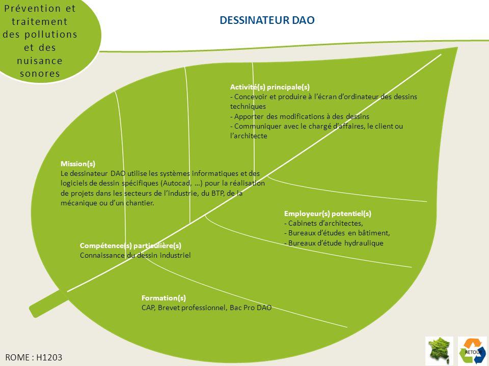 Prévention et traitement des pollutions et des nuisance sonores Mission(s) Le dessinateur DAO utilise les systèmes informatiques et des logiciels de dessin spécifiques (Autocad, …) pour la réalisation de projets dans les secteurs de lindustrie, du BTP, de la mécanique ou dun chantier.