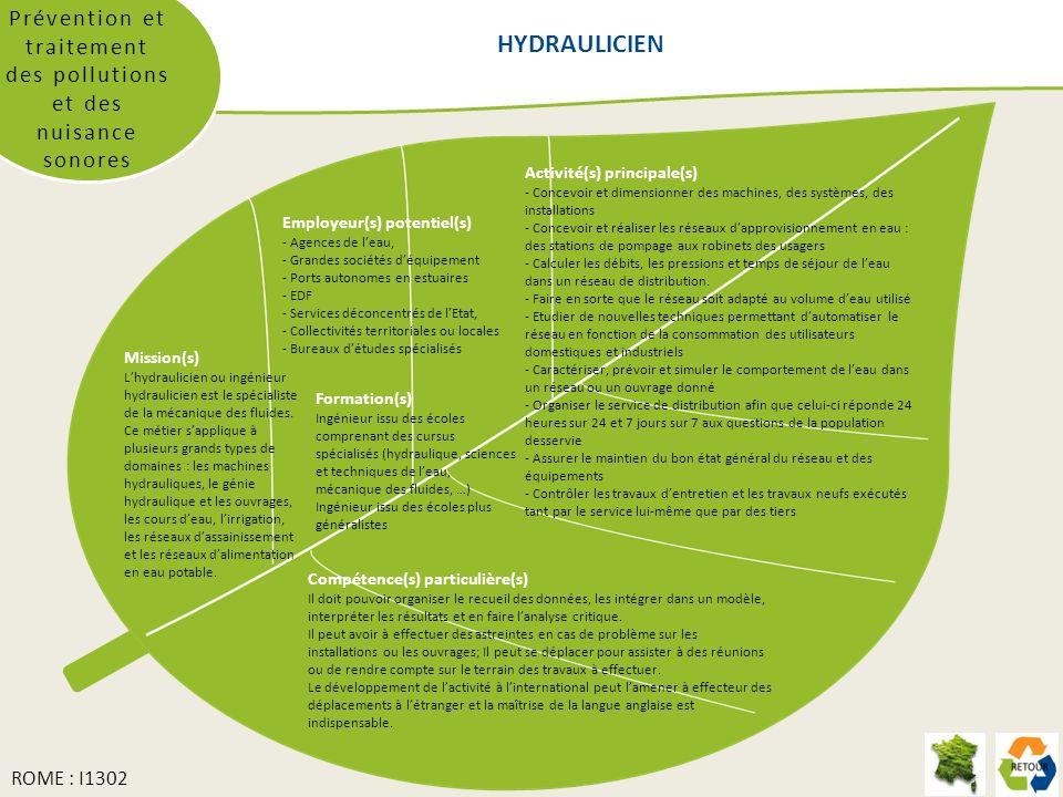 Prévention et traitement des pollutions et des nuisance sonores Mission(s) Lhydraulicien ou ingénieur hydraulicien est le spécialiste de la mécanique des fluides.