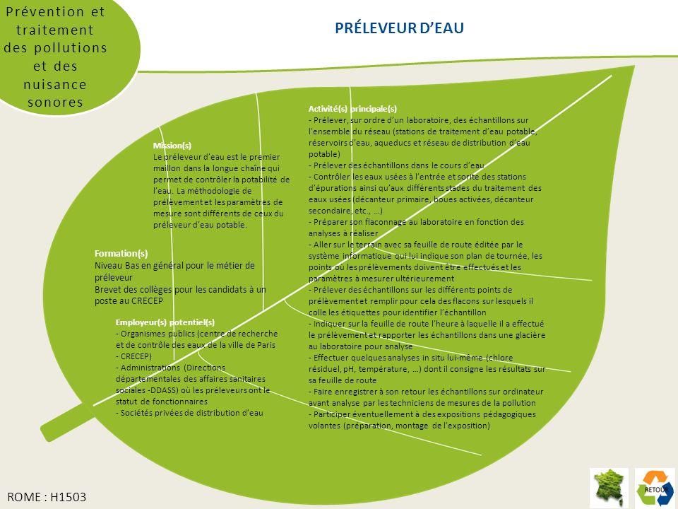 Prévention et traitement des pollutions et des nuisance sonores PRÉLEVEUR DEAU Activité(s) principale(s) - Prélever, sur ordre dun laboratoire, des éc