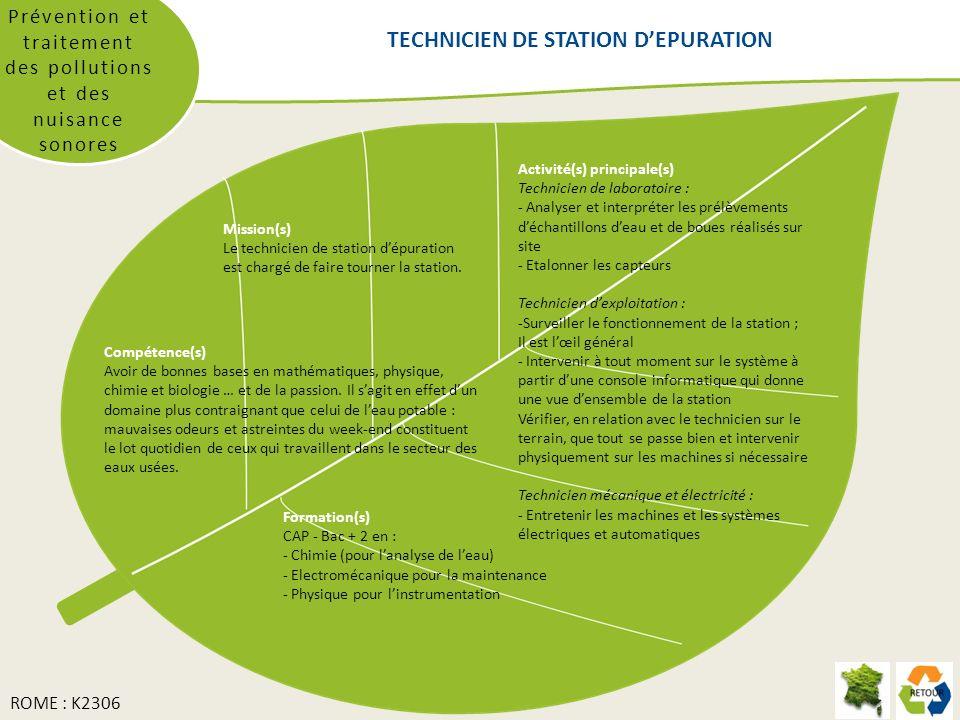 Prévention et traitement des pollutions et des nuisance sonores Mission(s) Le technicien de station dépuration est chargé de faire tourner la station.