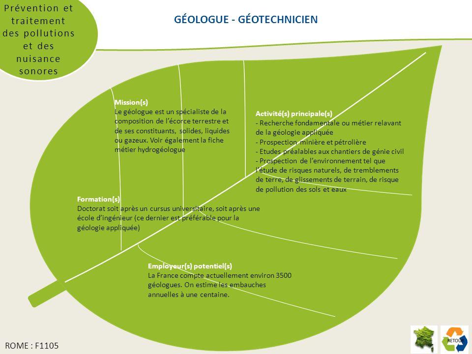 Prévention et traitement des pollutions et des nuisance sonores Mission(s) Le géologue est un spécialiste de la composition de lécorce terrestre et de ses constituants, solides, liquides ou gazeux.