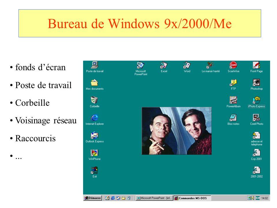 Bureau de Windows 9x/2000/Me fonds décran Poste de travail Corbeille Voisinage réseau Raccourcis...