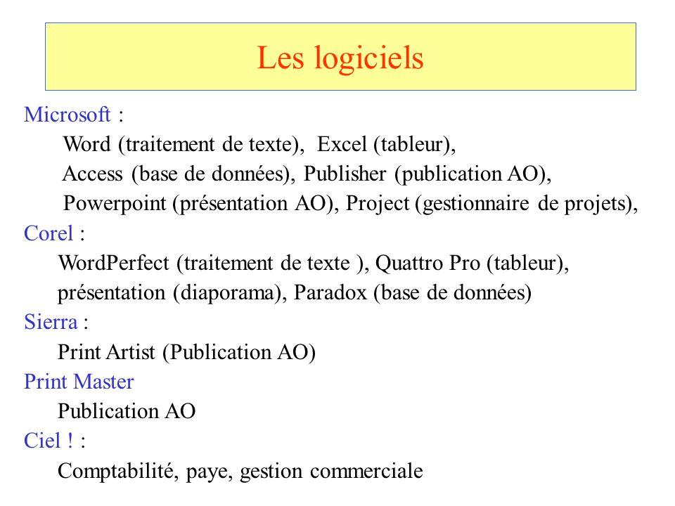 Les logiciels Microsoft : Word (traitement de texte), Excel (tableur), Access (base de données), Publisher (publication AO), Powerpoint (présentation
