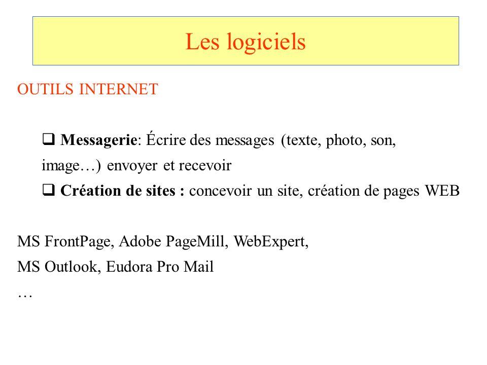 Les logiciels OUTILS INTERNET Messagerie: Écrire des messages (texte, photo, son, image…) envoyer et recevoir Création de sites : concevoir un site, c