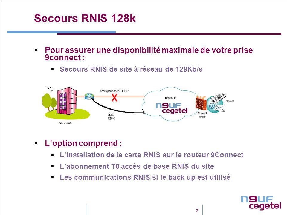 7 Secours RNIS 128k Pour assurer une disponibilité maximale de votre prise 9connect : Secours RNIS de site à réseau de 128Kb/s Loption comprend : Lins