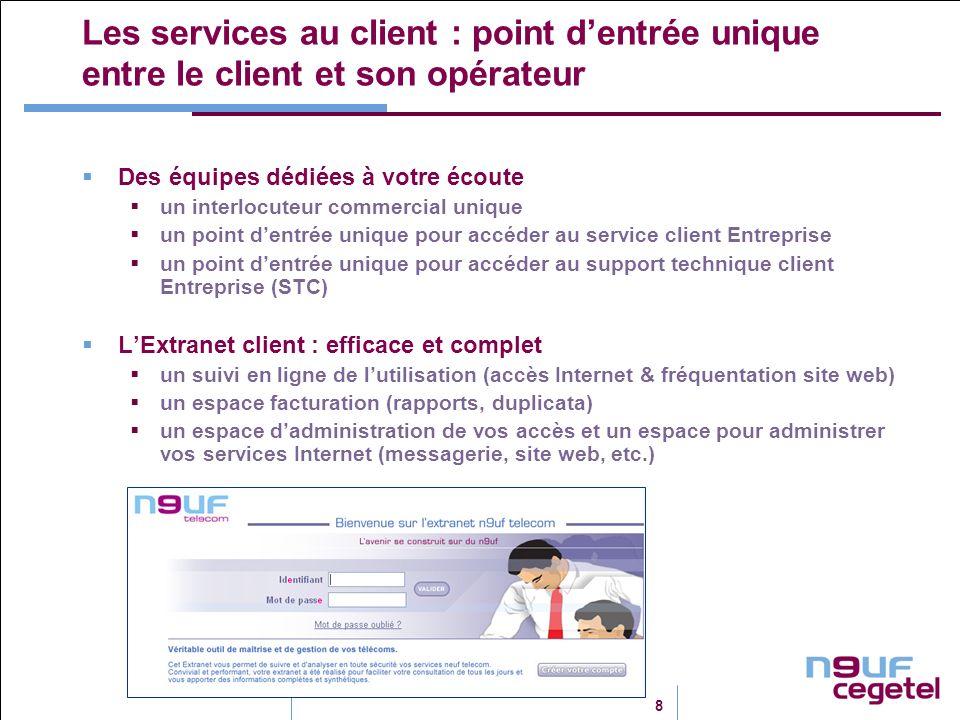 8 Les services au client : point dentrée unique entre le client et son opérateur Des équipes dédiées à votre écoute un interlocuteur commercial unique