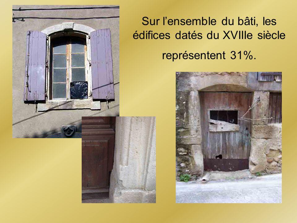 Sur lensemble du bâti, les édifices datés du XVIIIe siècle représentent 31%.