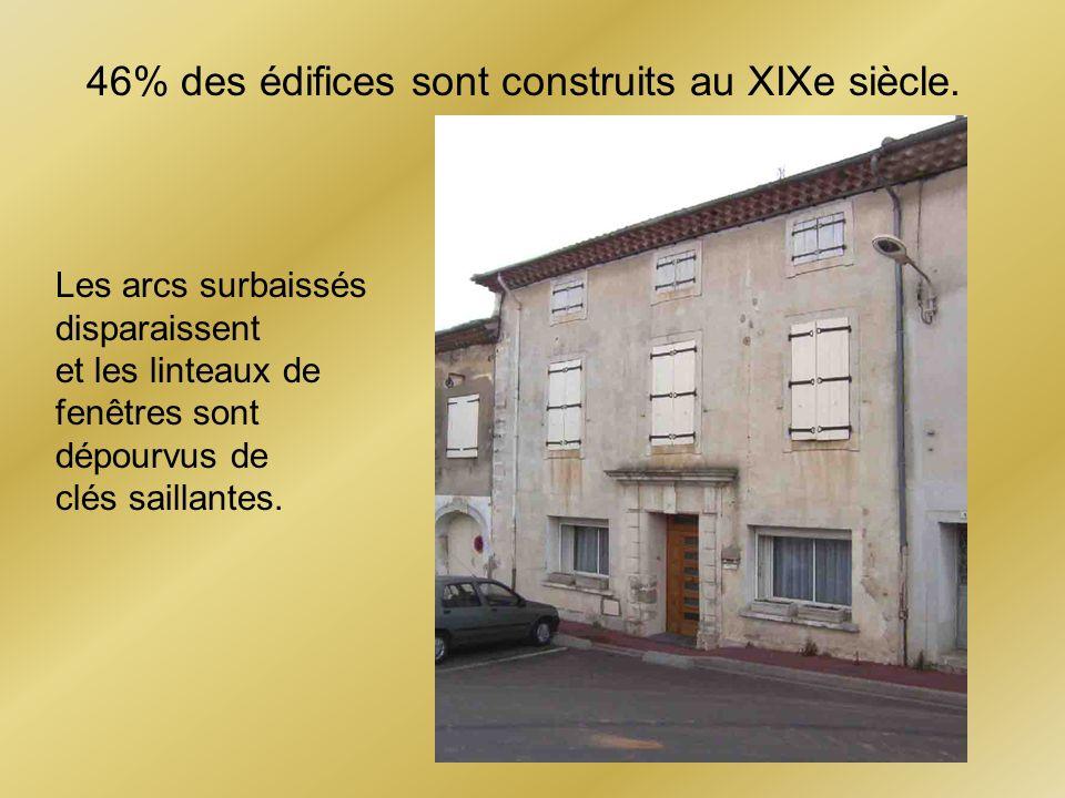 46% des édifices sont construits au XIXe siècle. Les arcs surbaissés disparaissent et les linteaux de fenêtres sont dépourvus de clés saillantes.