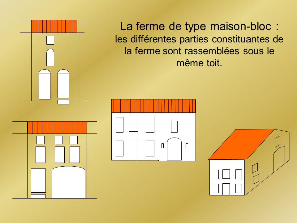 La ferme de type maison-bloc : les différentes parties constituantes de la ferme sont rassemblées sous le même toit.