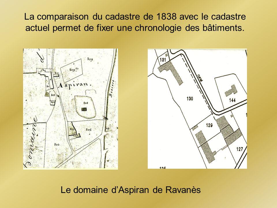 La comparaison du cadastre de 1838 avec le cadastre actuel permet de fixer une chronologie des bâtiments. Le domaine dAspiran de Ravanès
