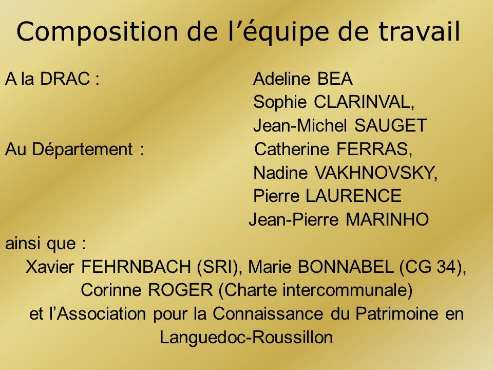 Composition de léquipe de travail A la DRAC : Adeline BEA Sophie CLARINVAL, Jean-Michel SAUGET Au Département : Catherine FERRAS, Nadine VAKHNOVSKY, P