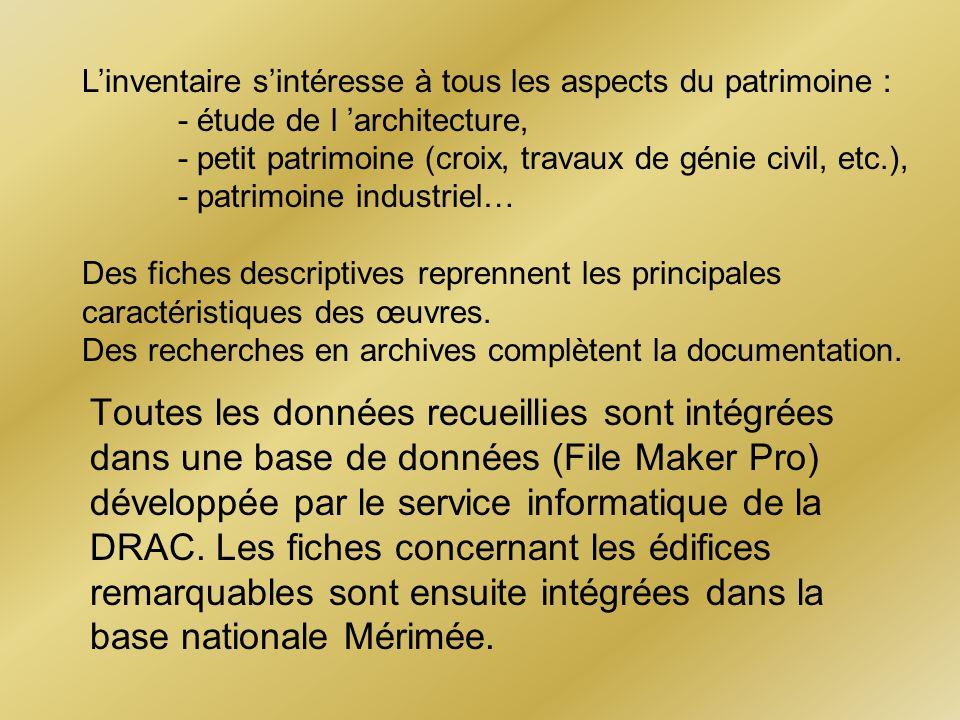 Toutes les données recueillies sont intégrées dans une base de données (File Maker Pro) développée par le service informatique de la DRAC. Les fiches