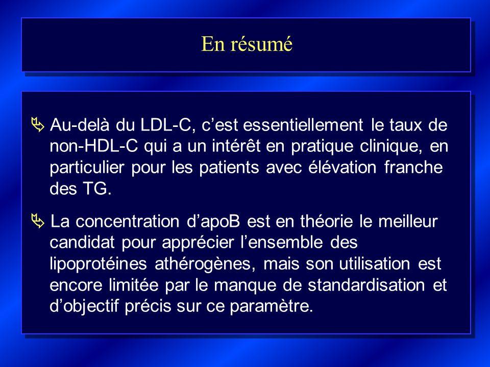 En résumé Au-delà du LDL-C, cest essentiellement le taux de non-HDL-C qui a un intérêt en pratique clinique, en particulier pour les patients avec élé
