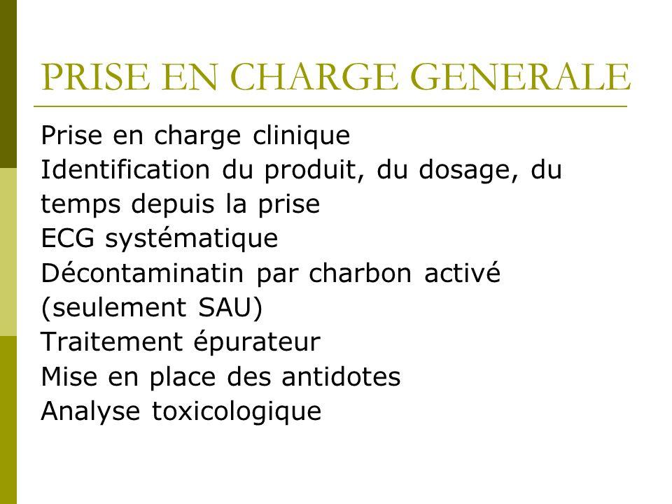 PRISE EN CHARGE GENERALE Prise en charge clinique Identification du produit, du dosage, du temps depuis la prise ECG systématique Décontaminatin par c