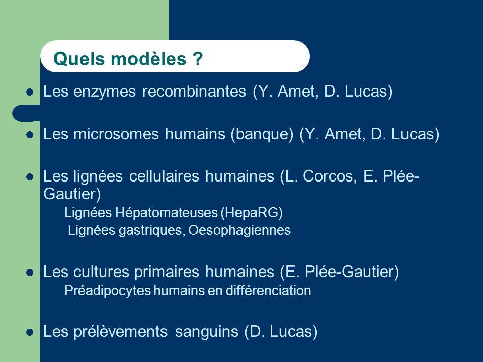 Quels modèles .Les enzymes recombinantes (Y. Amet, D.