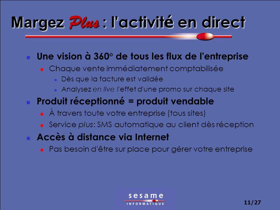 11/27 Margez Plus : l'activit é en direct Une vision à 360° de tous les flux de l'entreprise Chaque vente immédiatement comptabilisée Dès que la factu