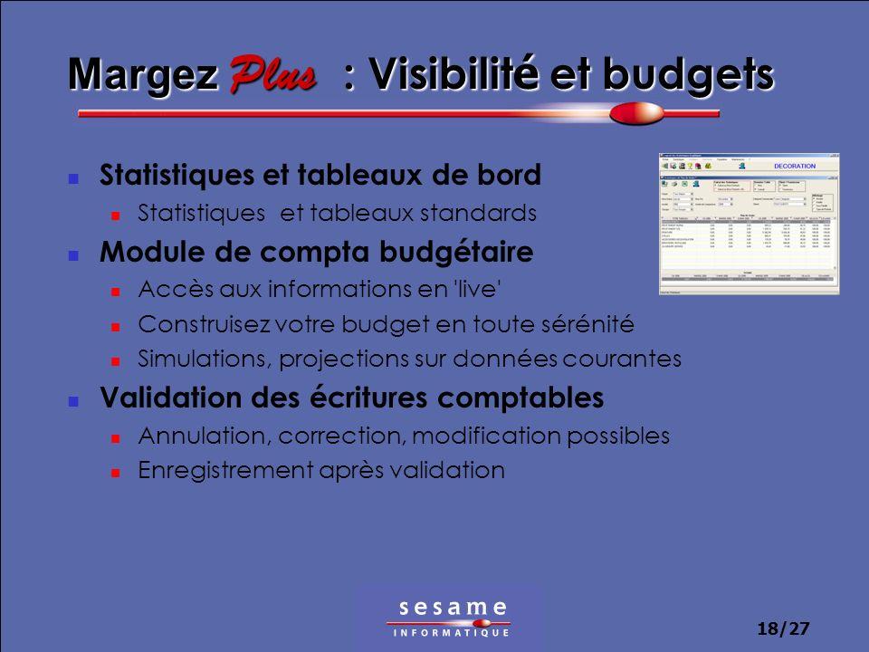 18/27 Margez Plus : Visibilit é et budgets Statistiques et tableaux de bord Statistiques et tableaux standards Module de compta budgétaire Accès aux i
