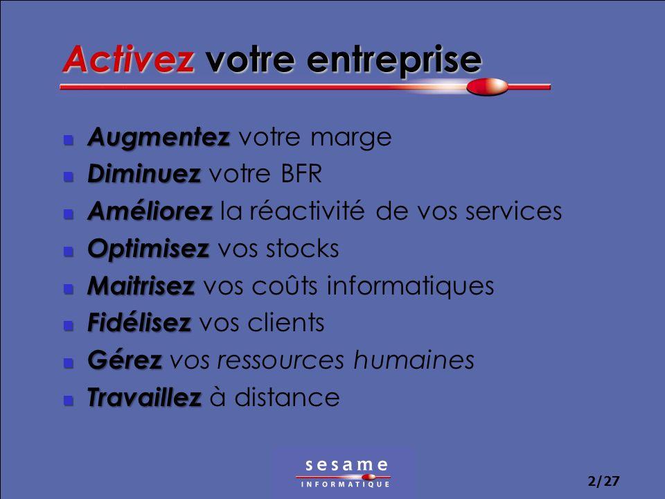 2/27 Activez votre entreprise Augmentez Augmentez votre marge Diminuez Diminuez votre BFR Améliorez Améliorez la réactivité de vos services Optimisez