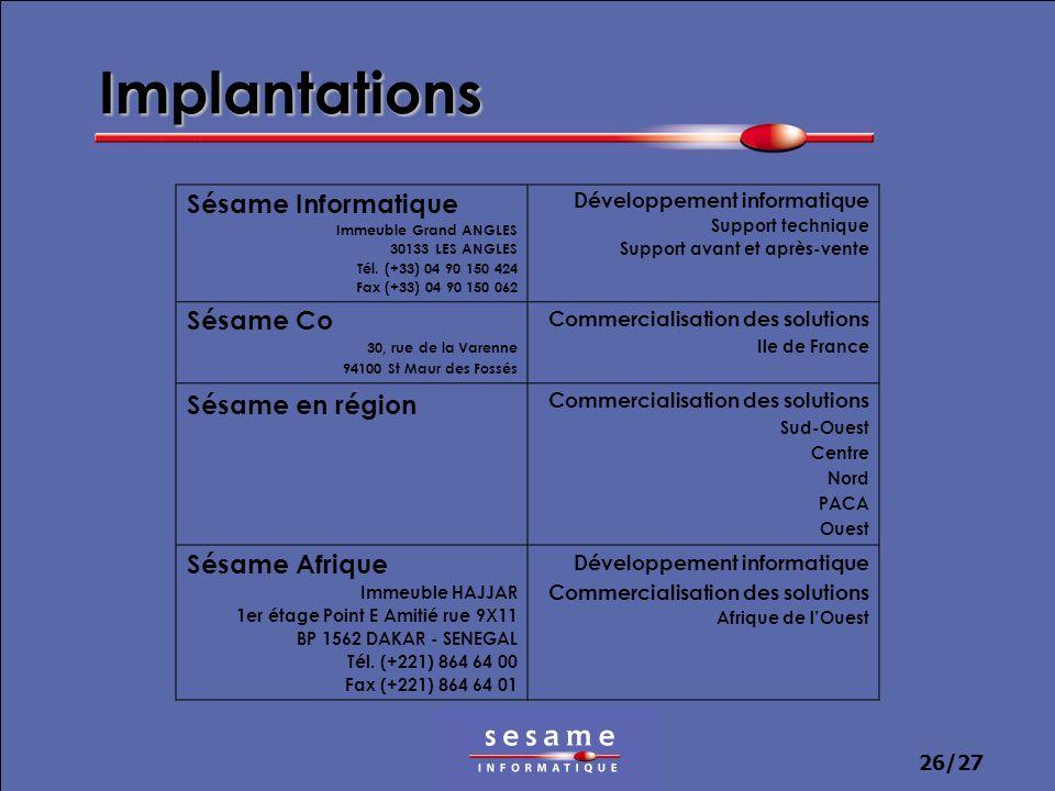 26/27 Implantations Sésame Informatique Immeuble Grand ANGLES 30133 LES ANGLES Tél. (+33) 04 90 150 424 Fax (+33) 04 90 150 062 Développement informat