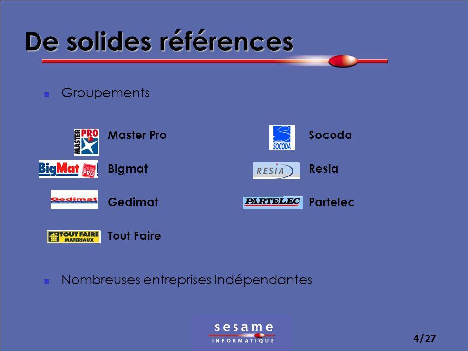 4/27 Groupements Nombreuses entreprises Indépendantes De solides références Master Pro Bigmat Gedimat Tout Faire Socoda Resia Partelec
