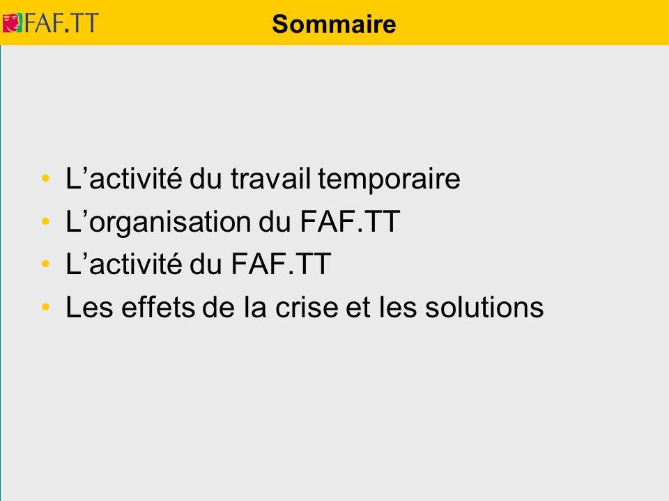 Sommaire Lactivité du travail temporaire Lorganisation du FAF.TT Lactivité du FAF.TT Les effets de la crise et les solutions