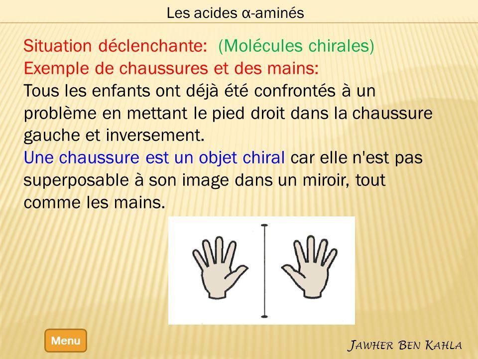 Les acides α-aminés Menu J AWHER B EN K AHLA Situation déclenchante: (Molécules chirales) Exemple de chaussures et des mains: Tous les enfants ont déj