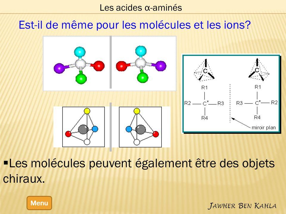 Les acides α-aminés Menu J AWHER B EN K AHLA Les molécules peuvent également être des objets chiraux. Est-il de même pour les molécules et les ions?