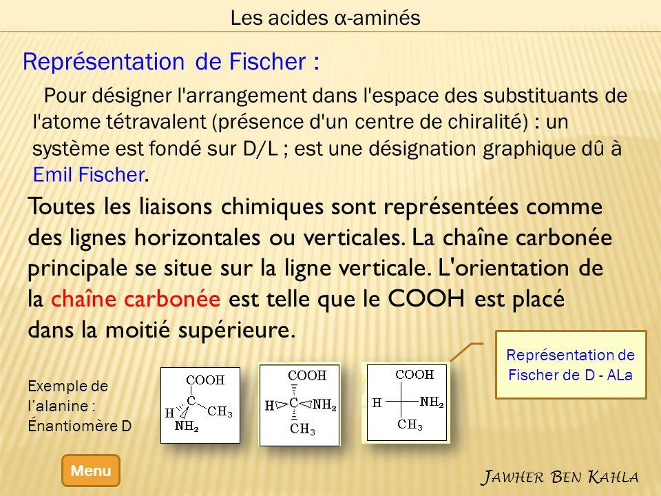 Les acides α-aminés Menu J AWHER B EN K AHLA Représentation de Fischer : Pour désigner l arrangement dans l espace des substituants de l atome tétravalent (présence d un centre de chiralité) : un système est fondé sur D/L ; est une désignation graphique dû à Emil Fischer.
