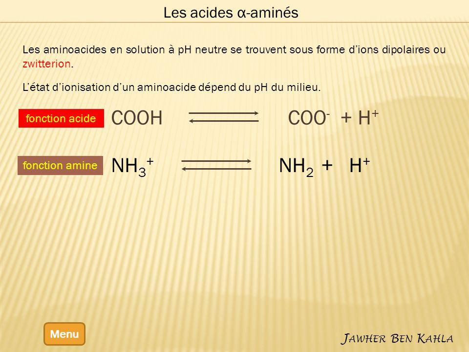 Les acides α-aminés Menu J AWHER B EN K AHLA Les aminoacides en solution à pH neutre se trouvent sous forme dions dipolaires ou zwitterion. Létat dion