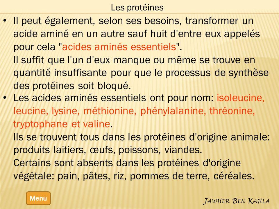 Menu J AWHER B EN K AHLA Les protéines Il peut également, selon ses besoins, transformer un acide aminé en un autre sauf huit d'entre eux appelés pour