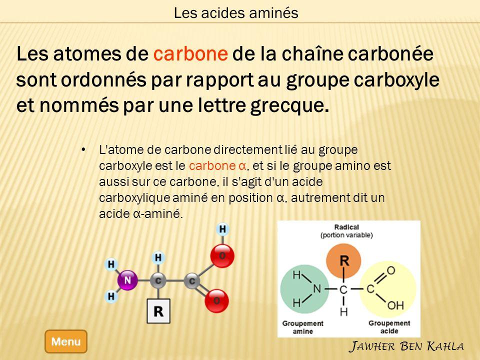 Les acides α-aminés Menu Ces acides aminés sont chargés.
