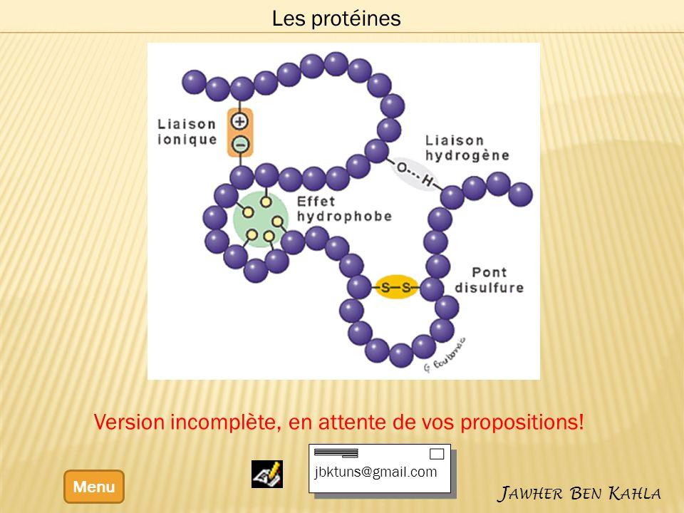 Menu J AWHER B EN K AHLA Les protéines Version incomplète, en attente de vos propositions.