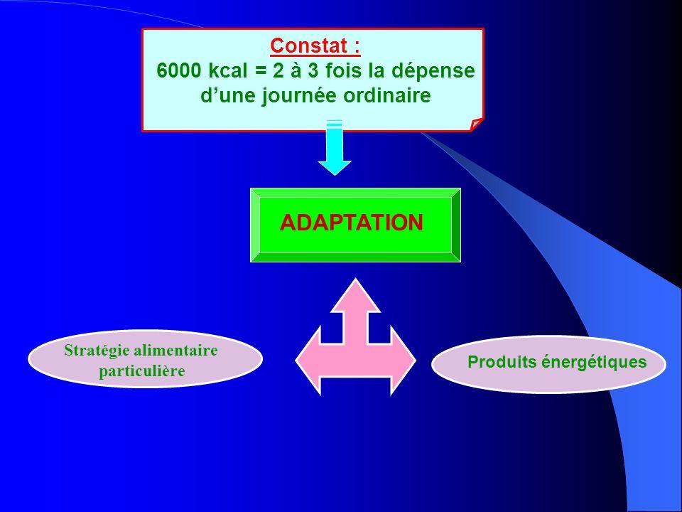 Constat : 6000 kcal = 2 à 3 fois la dépense dune journée ordinaire Stratégie alimentaire particulière Produits énergétiques ADAPTATION