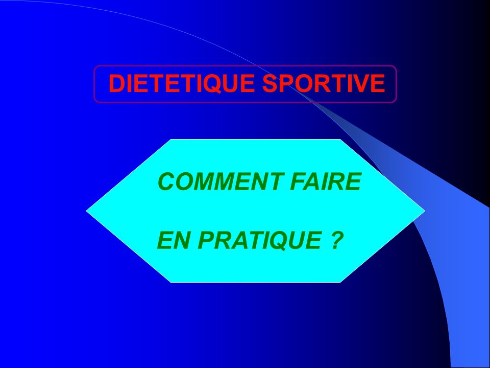 DIETETIQUE SPORTIVE COMMENT FAIRE EN PRATIQUE ?