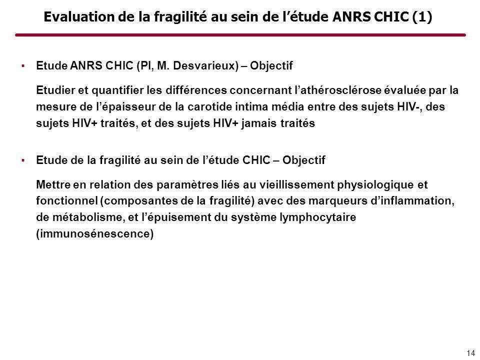 Evaluation de la fragilité au sein de létude ANRS CHIC (1) Etude ANRS CHIC (PI, M. Desvarieux) – Objectif Etudier et quantifier les différences concer