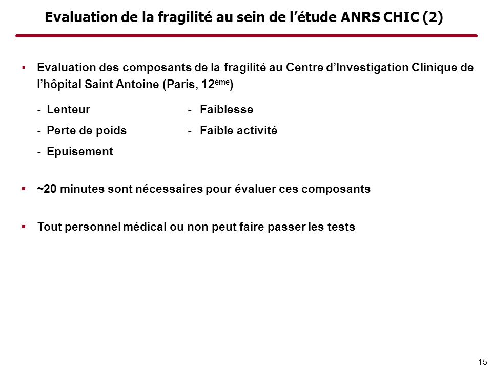 Evaluation de la fragilité au sein de létude ANRS CHIC (2) Evaluation des composants de la fragilité au Centre dInvestigation Clinique de lhôpital Sai