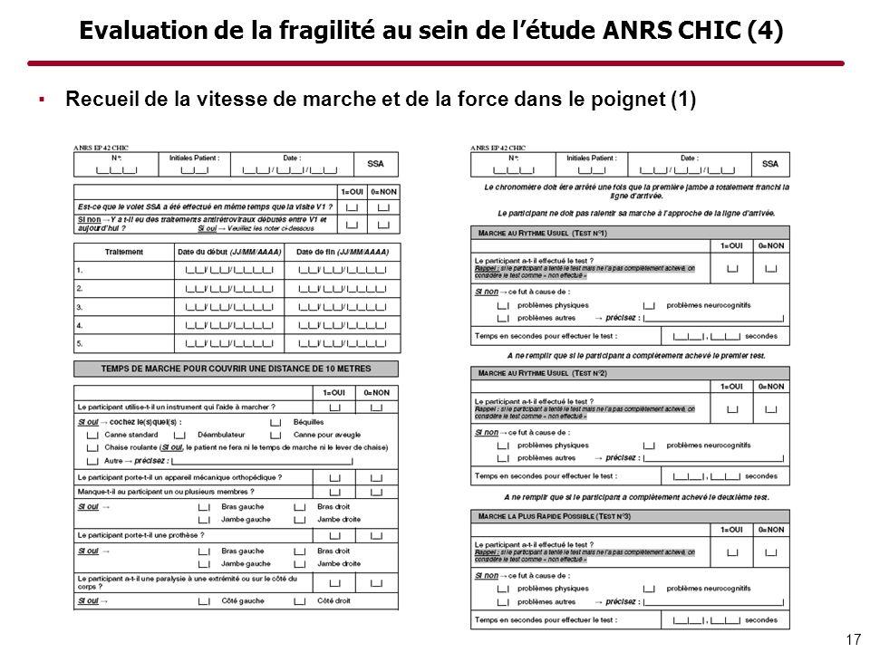 Evaluation de la fragilité au sein de létude ANRS CHIC (4) Recueil de la vitesse de marche et de la force dans le poignet (1) 17