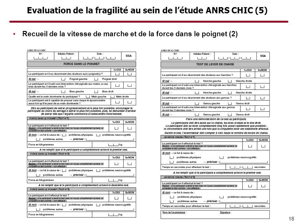 Evaluation de la fragilité au sein de létude ANRS CHIC (5) 18 Recueil de la vitesse de marche et de la force dans le poignet (2)