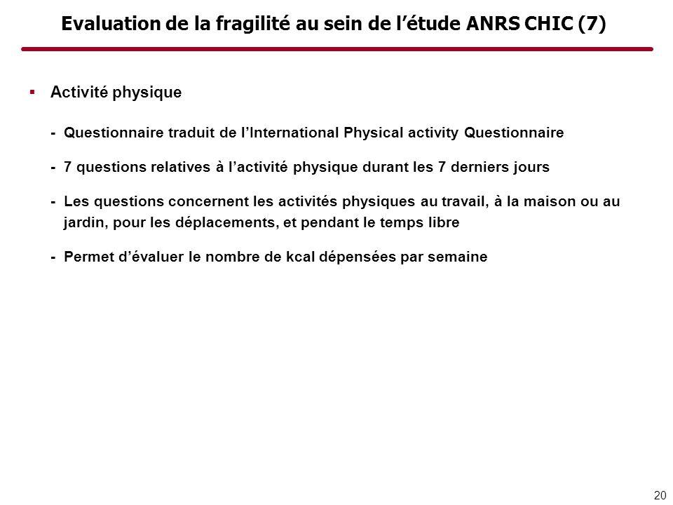 Evaluation de la fragilité au sein de létude ANRS CHIC (7) Activité physique -Questionnaire traduit de lInternational Physical activity Questionnaire