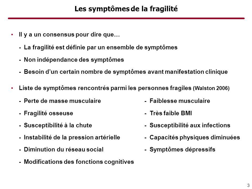 Les symptômes de la fragilité Il y a un consensus pour dire que… -La fragilité est définie par un ensemble de symptômes -Non indépendance des symptôme