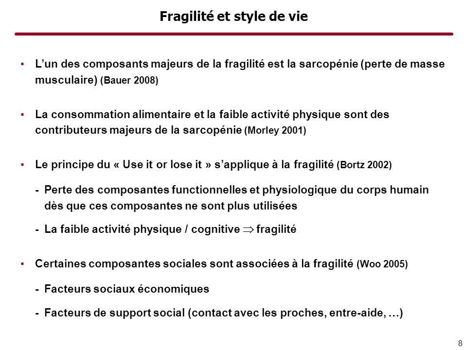 Fragilité et style de vie Lun des composants majeurs de la fragilité est la sarcopénie (perte de masse musculaire) (Bauer 2008) La consommation alimentaire et la faible activité physique sont des contributeurs majeurs de la sarcopénie (Morley 2001) Le principe du « Use it or lose it » sapplique à la fragilité (Bortz 2002) -Perte des composantes functionnelles et physiologique du corps humain dès que ces composantes ne sont plus utilisées -La faible activité physique / cognitive fragilité Certaines composantes sociales sont associées à la fragilité (Woo 2005) -Facteurs sociaux économiques -Facteurs de support social (contact avec les proches, entre-aide, …) 8